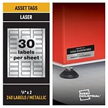 Avery PermaTrack Metallic Laser Asset Tags, 3/4 x 2, Silver, 30 Labels/Sheet, 8 Sheets/Pack (61524