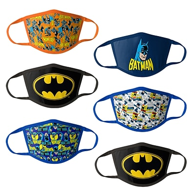 Batman Reusable Kids Cloth Face Masks, Assorted, 6/Pack (HCBMP1863)