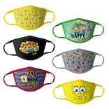 Sponge Bob Reusable Kids Cloth Face Masks, Assorted, 6/Pack (HCBMP3318)
