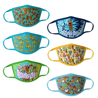 Scooby Doo Reusable Kids Cloth Face Masks, Assorted, 6/Pack (HCBMP4058)