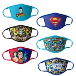 Justice League Reusable Kids Cloth Face Masks, Assorted, 6/Pack (HCBMP1864)