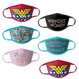 Wonder Woman Reusable Kids Cloth Face Masks, Assorted, 6/Pack (HCGMP2827)