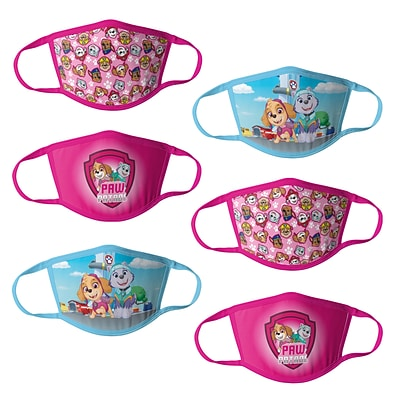 Paw Patrol Reusable Girls Cloth Kids Face Masks, Assorted, 6/Pack (HCGMP3762)
