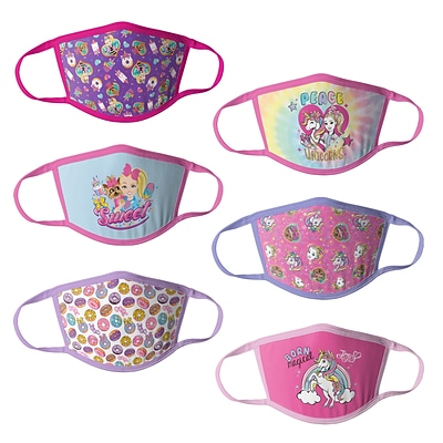 JoJo Siwa Reusable Girls Cloth Kids Face Masks, Assorted, 6/Pack (HCGMP4233)
