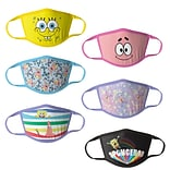 Sponge Bob Reusable Girls Cloth Kids Face Masks, Assorted, 6/Pack (HCGMP3319)