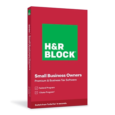 H&R Block Tax Software: Premium & Business 2020  for 1 User, Windows, Physical Key Card (1116600-20)