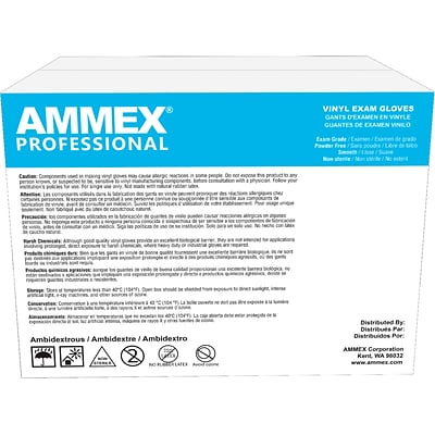 AMMEX Powder Free Vynyl Exam Gloves, Latex Free, Large, 100 Gloves/Box, 10 Boxes/Carton (VPF66100-CC)
