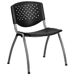 Flash Furniture HERCULES Plastic Stack Chair, Black (RUT-F01A-BK-GG)