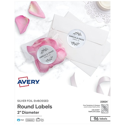 Avery Printable Embossed Foil Round Labels 2 Diameter Silver 96 Customizable Labels Pack 22824 Quill Com