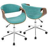 Lumisource Curvo Mid-Century Modern Office Chair in Walnut and Teal (OFC-CURVO WL+CR)