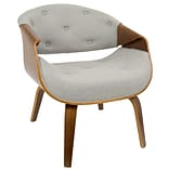 LumiSource Curvo Mid-Century Modern Accent Chair in Walnut and Grey Fabric (CH-CRVTFT WL+GY)
