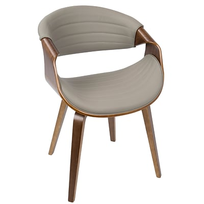 LumiSource Symphony Mid-Century Modern Dining / Accent Chair in Walnut Wood and Light Grey PU (CH-SYMP WL+LGY)