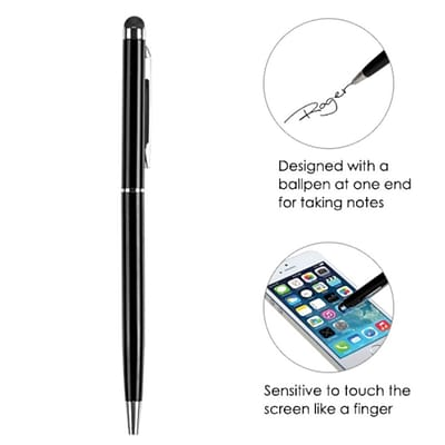 Insten Black Metal Touch Screen LCD Stylus Ball Pen Ballpoint For Mobile Phones