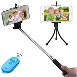 Insten Wireless 3-In-1 Mobile Phone Camera Monopod + Tripod Stand + Blue/Tropical Remote Shutter for
