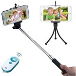 Insten Wireless 3-In-1 Mobile Phone Camera Monopod + Tripod Stand + White/Tropical Remote Shutter fo