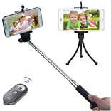 Insten Wireless 3-In-1 Mobile Phone Camera Monopod + Tripod Stand + Black/Gray Remote Shutter for Mo