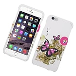 Insten Butterfly Hard Rubberized Case for iPhone 6s Plus / 6 Plus - White/Pink