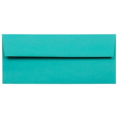 JAM Paper® #10 Business Colored Envelopes, 4.125 x 9.5, Sea Blue Recycled, 50/Pack (15858I)