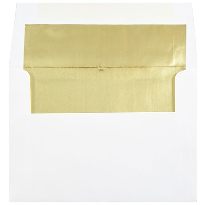 JAM Paper® A7 Foil Lined Invitation Envelopes, 5.25 x 7.25, White with Gold Foil, 25/Pack (3243663)
