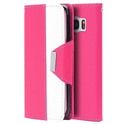 Insten Princesa Wristlet Pouch Leather Wallet Credit Card Stand Case Cover For Samsung Galaxy S7 Edge - Hot Pink/White