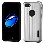 Insten Hard Hybrid Rubberized Silicone Case For Apple iPhone 7 - Silver/Black
