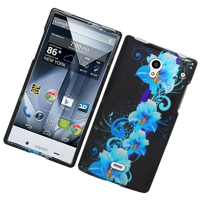 Insten Flowers Hard Rubberized Cover Case For Sharp Aquos Crystal - Blue/Black