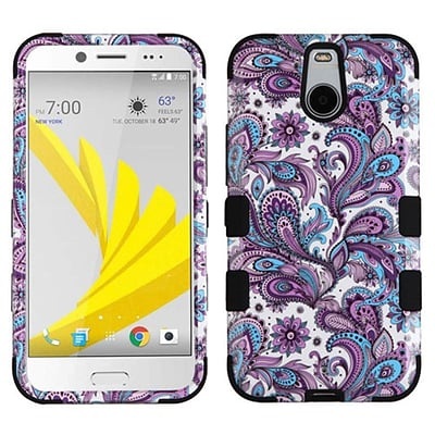 Insten Tuff European Flowers Hard Dual Layer Silicone Cover Case For HTC Bolt - Purple/White