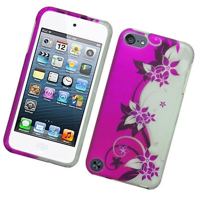 Insten Vine Flower Hard Cover Case for iPod Touch 5th Gen - Purple/Silver