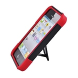 Insten Hard Hybrid Plastic Silicone Case with stand for iPhone 5S 5 - Black/Red