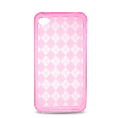 Insten Checker Gel Transparent Case For Apple iPhone 4 - Hot Pink