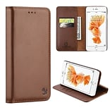 Insten Book-Style Leather Fabric Case Magnetic w/stand/card holder For Apple iPhone 7/ 8, Brown