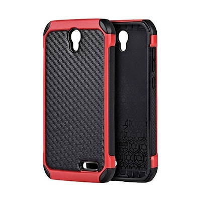 Insten Carbon Fiber Finish Tough Hybrid Dual Layer Cover Case For ZTE Grand X 3 - Black/Red