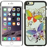 Insten Butterfly Hard Rubber Coated Case for Apple iPhone 6s Plus / 6 Plus - White/Purple