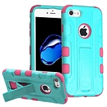 Insten Hard Dual Layer Rubberized Silicone Cover Case w/stand/Holster For Apple iPhone 7 - Teal/Pink