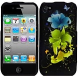 Insten Flowers TPU Cover Case For Apple iPhone 4S - Black/Green