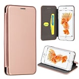 Insten Folio Leather Fabric Cover Case w/stand/card holder For Apple iPhone 7 - Rose Gold