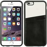 Insten Leather Fabric TPU Case w/card holder For Apple iPhone 6 / 6s - Black/White
