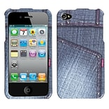 Insten Black Jeans Phone Design Case with Studs For Apple iPhone 4 4S