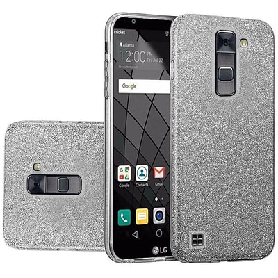 Insten Glitter Paper Hybrid Clear Hard PC/TPU Dual Layer Protective Case For LG Stylo 2 Plus - Smoke