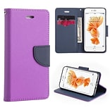 Insten Flip Leather Fabric Case Lanyard w/stand/card holder For Apple iPhone 7 - Purple/Navy Blue