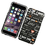 Insten Love You Hard Rubber Cover Case for iPhone 6s Plus / 6 Plus - Black/White