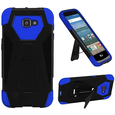 Insten Hard Hybrid Plastic Silicone Cover Case w/stand For LG K4/Optimus Zone 3/Spree - Black/Blue