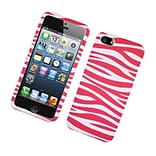 Insten Zebra Hard Rubber Cover Case For Apple iPhone 5 / 5S - Hot Pink/White