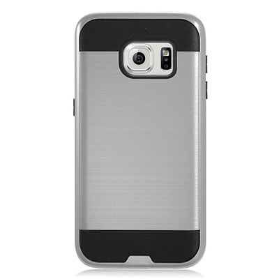 Insten Brushed Metal Hybrid Hard Plastic TPU Shockproof Case Cover For Samsung Galaxy S7 - Gray/Black