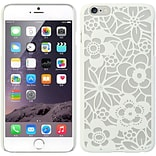Insten Flowers Hard Rubber Coated Cover Case for Apple iPhone 6s Plus / 6 Plus - White