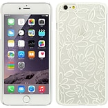 Insten Flower Leaf Hard Rubber Case for Apple iPhone 6s Plus / 6 Plus - White