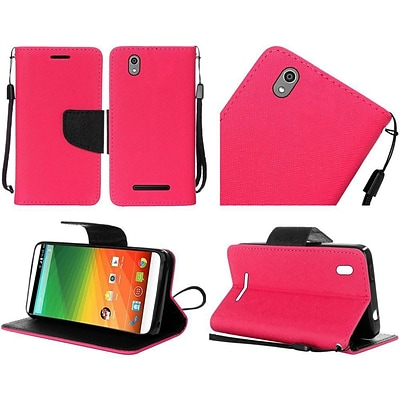 Insten Book-Style Leather Fabric Case Lanyard w/stand For ZTE Lever LTE - Hot Pink/Black