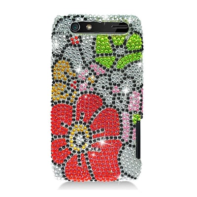 Insten Flowers Hard Diamond Cover Case For Motorola Droid Razr XT912 - Red/Green