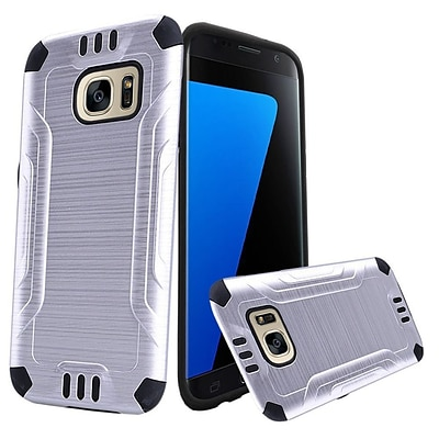 Insten Hard Dual Layer TPU Cover Case For Samsung Galaxy S7 - Silver/Black