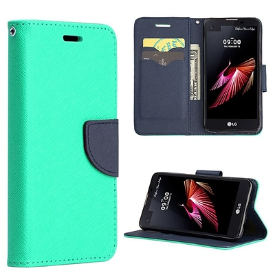 Insten Diary Leather Wallet Flip Card Stand Case Cover For LG X Power - Teal/Navy Blue
